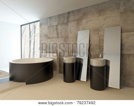 3D Rendering of Upmarket modern bathroom interior in brown and beige with a contemporary circular bathtub and vanities against a travertine tiled wall with freestanding rectangular mirrors