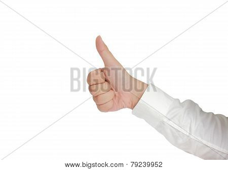 Thumb Up Sign Hand Gesture Isolated on White