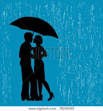 couple of lovers in the rain