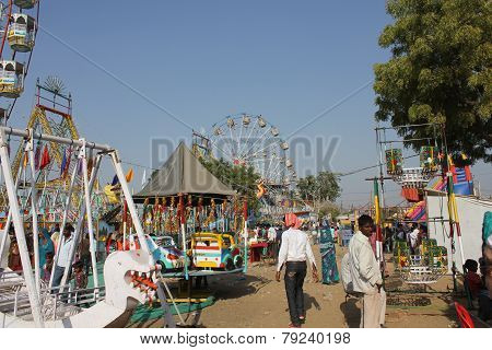 Indian People At Pushkar Fair.