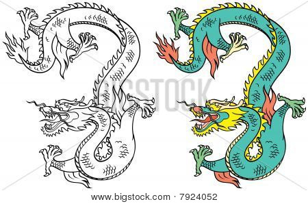Chinese Tattoo Dragon - Vector Illustration