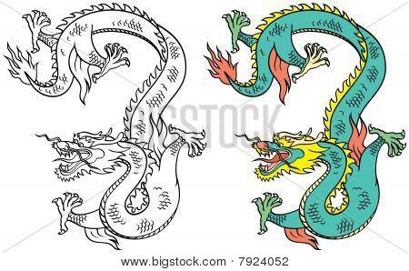Chinese Tattoo Dragon - Vector Illustration