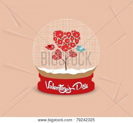 happy valentines day couple bird and lock globe