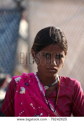 Indian Teenager With A Purple Saree