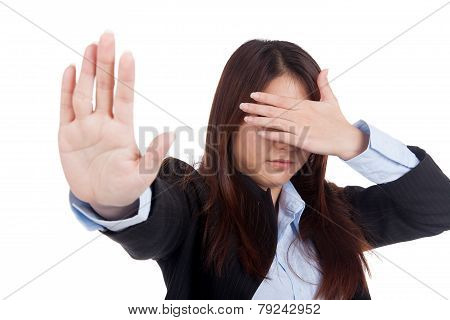 Young Asian Businesswoman Cover Her Eye Say No