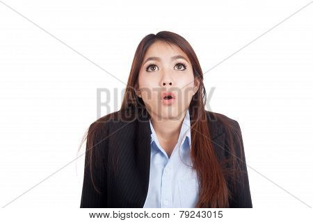 Young Asian Businesswoman Shocked And Look Up