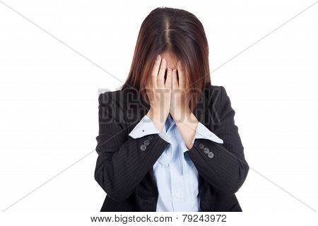 Sad Young Asian Businesswoman Cry With Palm To Face