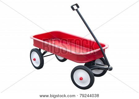 Red Pull Trolley Isolated On White.