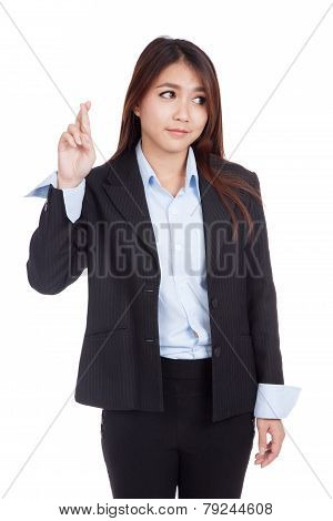 Young Asian Businesswoman Cross Her Fingers Look Away