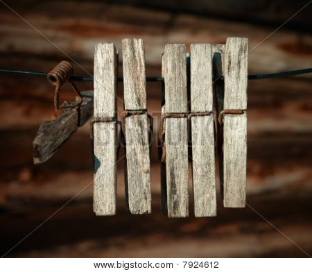 Old Wooden Weathered Clothespins.