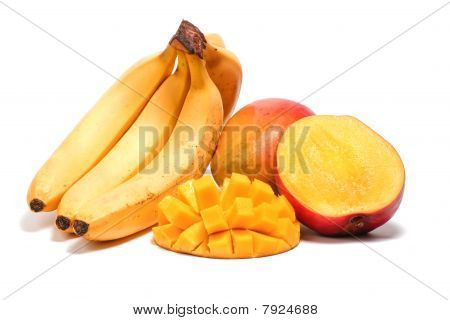 Banana And Mango With Sliced Half Isolated On White Background