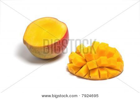 Sliced Half Of A Ripe Mango Isolated On White Background