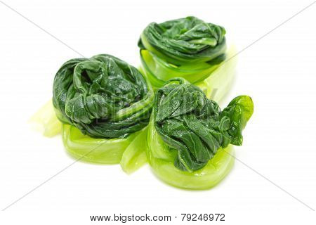 Boiled Chinese Cabbage Isolated On White.a Side Dish For Chili Sauce Of Thai Food.