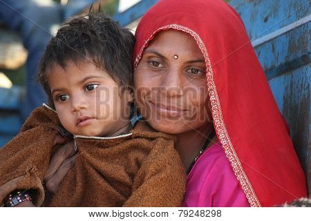 Beautiful Indian Mum With Her Son.