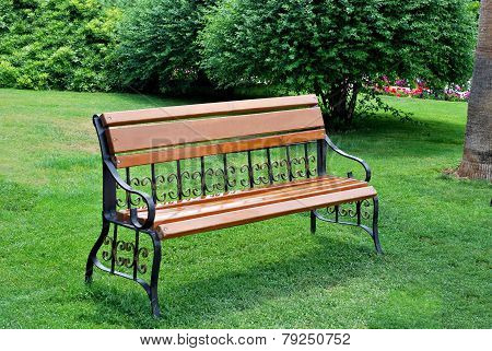 Empty bench in the grass