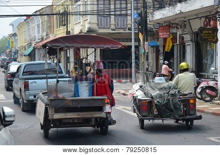 Phuket Town, TH-Sept18,2014: The transportation on the Yaowarat Road in Phuket Town, Thailand