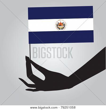 Hand With Flag El Salvador