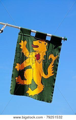 Medieval rampant lion flag.