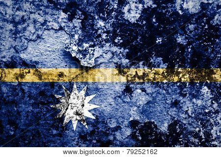 Nauru flag on grunge wall