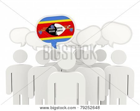 People With Flag Of Swaziland