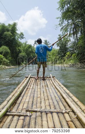 Khao Lak, TH-Sept,19 2014:Rafting on bamboo rafts in Sept, 19 2014 in Khao Lak, Thailand