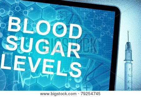 the words blood sugar levels on a tablet