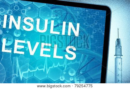 the words Insulin Levels on a tablet