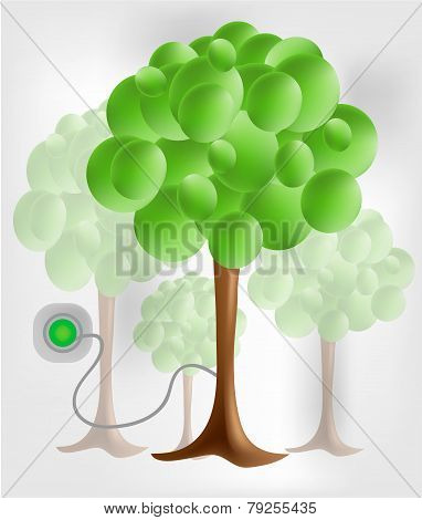 3d green tree with electrical socket