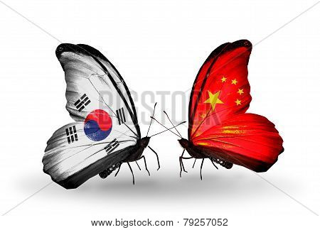 Two Butterflies With Flags On Wings As Symbol Of Relations South Korea And China