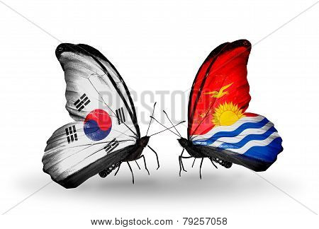 Two Butterflies With Flags On Wings As Symbol Of Relations South Korea And Kiribati