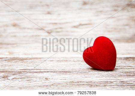 Heart On Wooden Background, Valentine Day Decoration, Love Concept