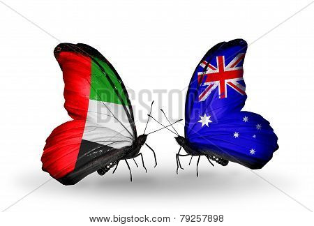 Two Butterflies With Flags On Wings As Symbol Of Relations Uae And Australia