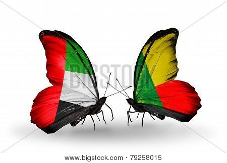 Two Butterflies With Flags On Wings As Symbol Of Relations Uae And Benin