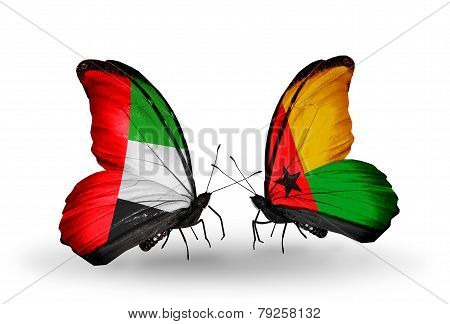Two Butterflies With Flags On Wings As Symbol Of Relations Uae And Guinea Bissau