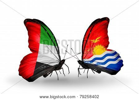 Two Butterflies With Flags On Wings As Symbol Of Relations Uae And Kiribati
