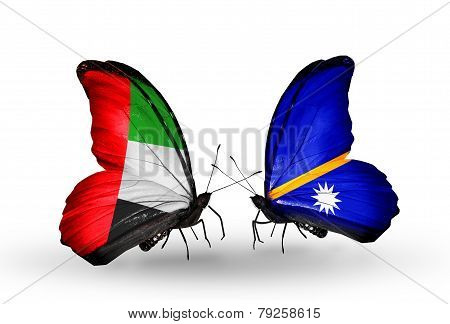 Two Butterflies With Flags On Wings As Symbol Of Relations Uae And Nauru