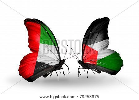 Two Butterflies With Flags On Wings As Symbol Of Relations Uae And Palestine