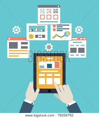 Flat Vector Illustration Of Mobile Application Optimization, Programming, Design And Analytics