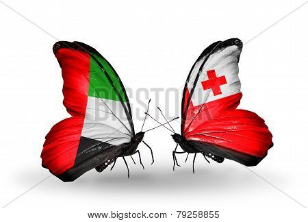 Two Butterflies With Flags On Wings As Symbol Of Relations Uae And Tonga