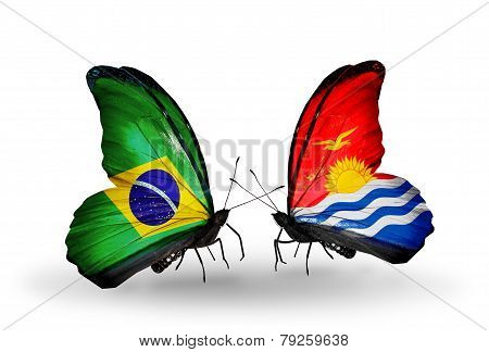Two Butterflies With Flags On Wings As Symbol Of Relations Brazil And Kiribati