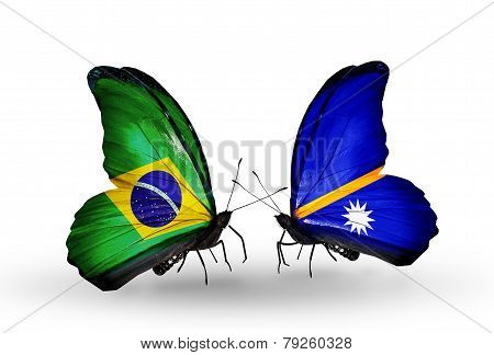 Two Butterflies With Flags On Wings As Symbol Of Relations Brazil And Nauru