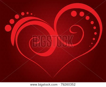 Valentine Vector-Red Heart Over Red Background