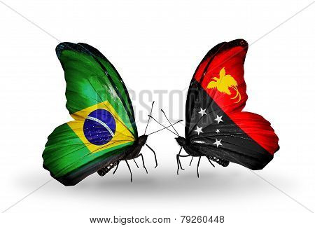 Two Butterflies With Flags On Wings As Symbol Of Relations Brazil And Papua New Guinea