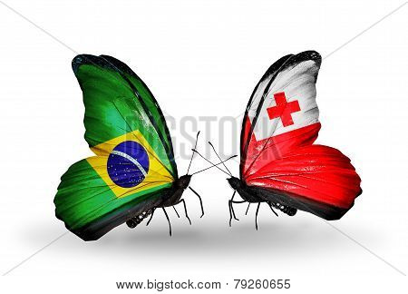 Two Butterflies With Flags On Wings As Symbol Of Relations Brazil And Tonga