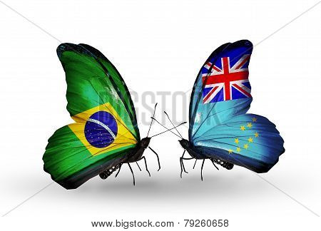 Two Butterflies With Flags On Wings As Symbol Of Relations Brazil And Tuvalu