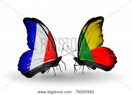 Two Butterflies With Flags On Wings As Symbol Of Relations France And Benin