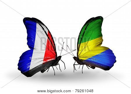 Two Butterflies With Flags On Wings As Symbol Of Relations France And Gabon