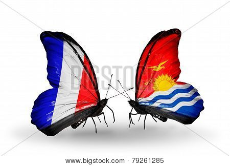 Two Butterflies With Flags On Wings As Symbol Of Relations France And Kiribati