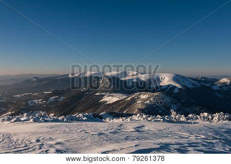 Sunny Winter Morning On A Mountain Ridge