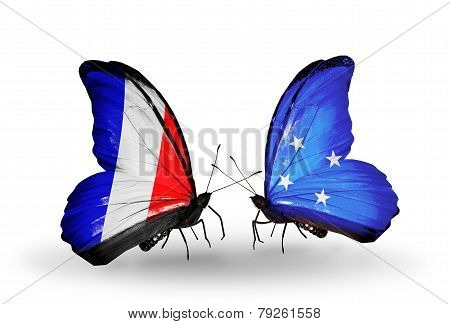 Two Butterflies With Flags On Wings As Symbol Of Relations France And Micronesia